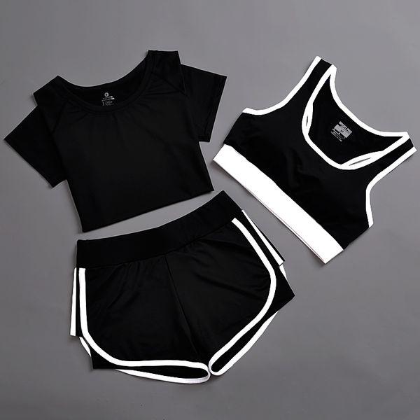 3 adet spor suit kadın yoga set katı üst ve şort nefes ter koşu spor spor giyim kadın kolsuz yoga romper # 74316