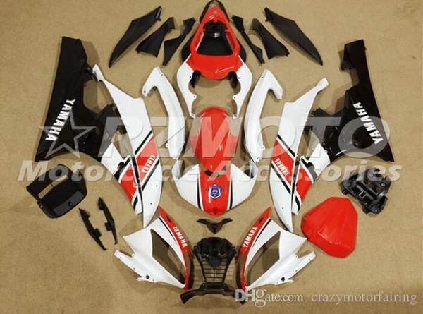 3 regalos gratis Nuevos kits de carenado ABS de inyección 100% Accesorios para YAMAHA YZF-R6 06-07 YZF600 2006 2007 Conjunto de carrocería R6 color blanco rojo D2