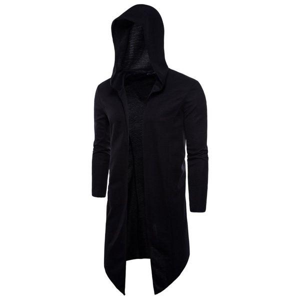 Moda Black Mens Cape Long Trench Coat Homens Cardigan Casaco Blusão Casaco Com Capuz Fino Casaco de Manga Longa Plus Size 5XL