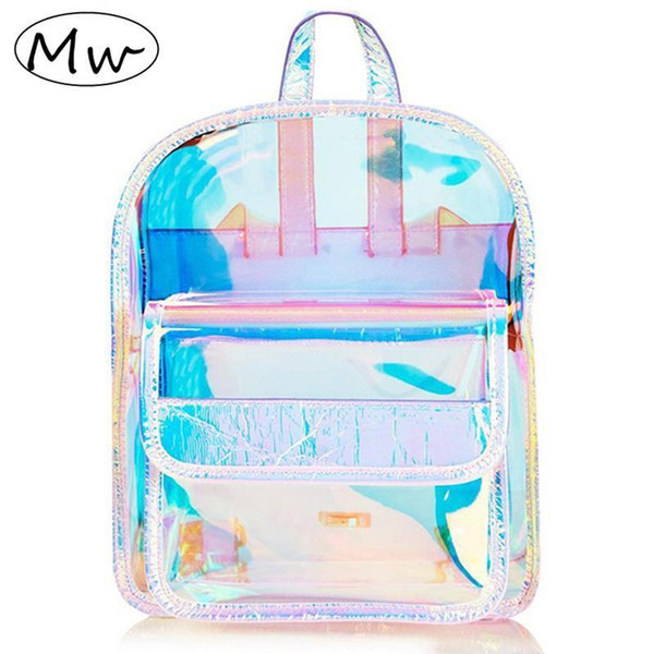 Moon Wood Fashion Hologram Small Laser Transparent Backpack Waterproof PVC Clear Daily Backpack Teenage Girls School Bag Shiny