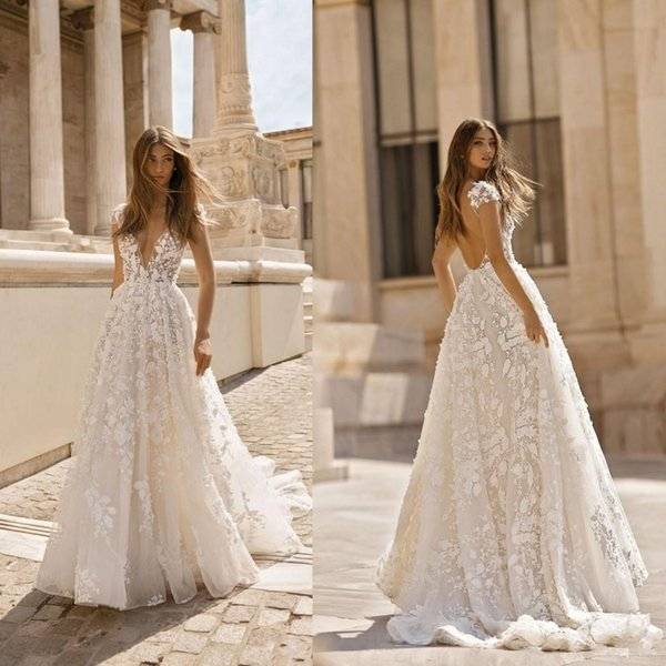 New Berta 2019 Beach Wedding Dresses 3D Floral Applique Lace V Neck Sleeveless Backless Sweep Train Plus Size Bridal Gowns Robe De Mariée