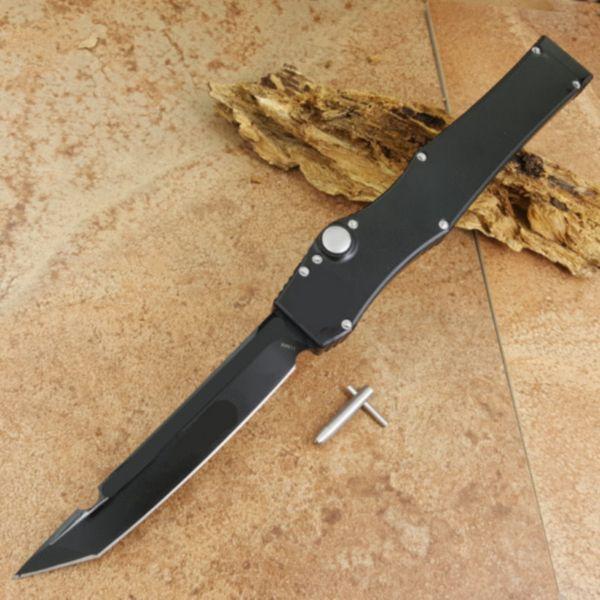 Halotf V de una sola acción, todo negro, verde, azul, azul, mango, caza, bolsillo, cuchillo automático, supervivencia, cuchillo, regalo de Navidad para hombres 1pcs