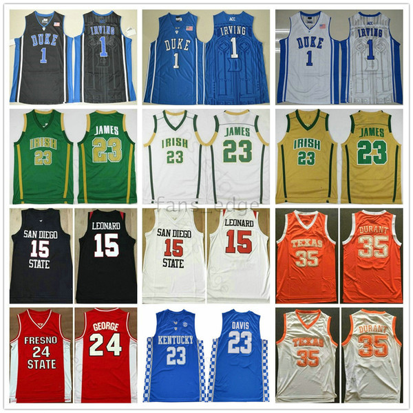 NCAA Üniversitesi 7 Adam Kevin Durant Kyrie Irving Forması 11 Kawhi 2 Leonard Paul 13 George Anthony 3 Davis LeBron 23 James Basketbol Formaları