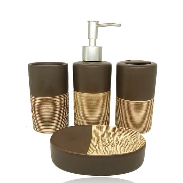 4pcs Chocolate Color Ceramic Bathroom Accessories High-end Bathroom Toiletries Lotion Bottle Toothbrush Holder Cup Soap Box Set Y19061804