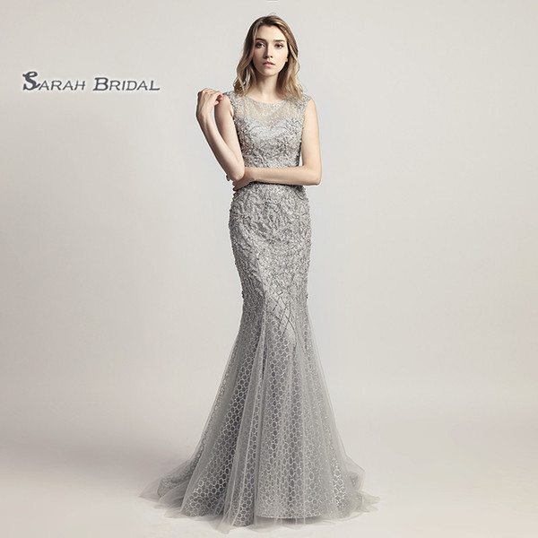 Luxury Mermaid Pearls Jewel Zipper Prom Party Dresses 2019 Sexy Elegant Vestidos De Festa Evening Occasion Sleeveless Gown LX445