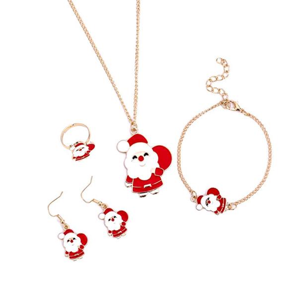 4pcs pingente de colar de Papai Noel Gancho Brincos Pulseira Anel Conjunto de jóias na moda bonita ao ar livre jóias de Acessório