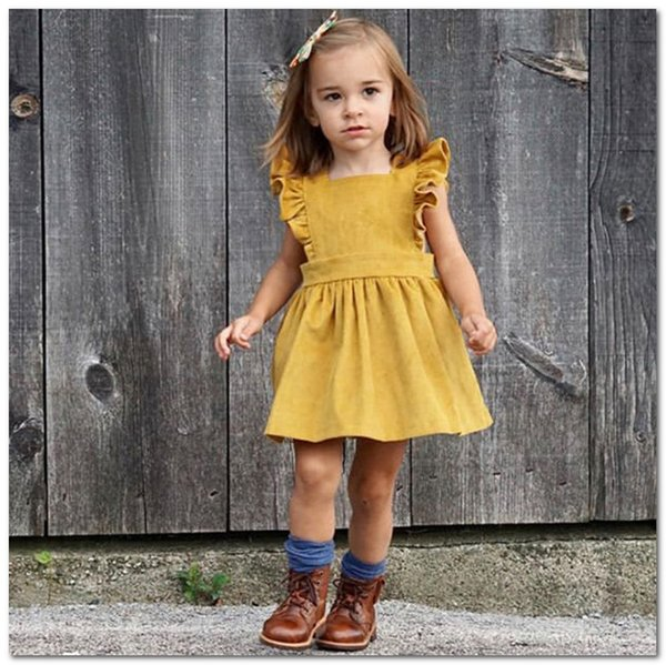 2020 Summer new Baby girls dress INS kids designer clothes girls falbala fly sleeve princess dress children out wear corduroy dress J1651