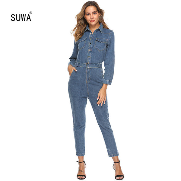 Fashion denim jumpsuit for women turn down collar button up shirt style romper high quality long sleeve long overall