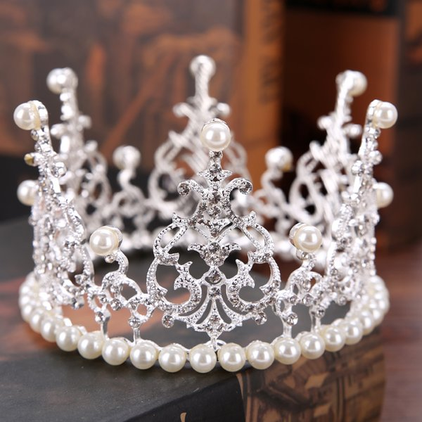 New Diadem Bride Pearl Crown Wedding Tiara Accessories Round Crown For Queen Pageant Hair Jewelry Decoration