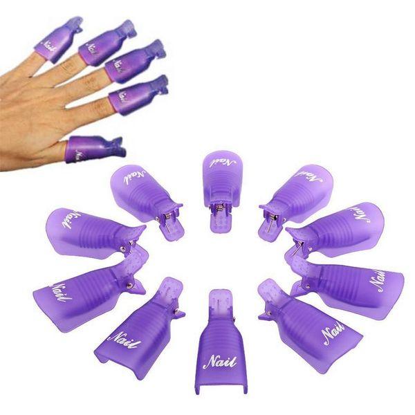 nail cleaner Cheap 10Pcs Durable Reusable Plastic Nail Art Polish Soak Off Remover Wrap 3 Color Choose Nails Cleaner Clip Cap Tool