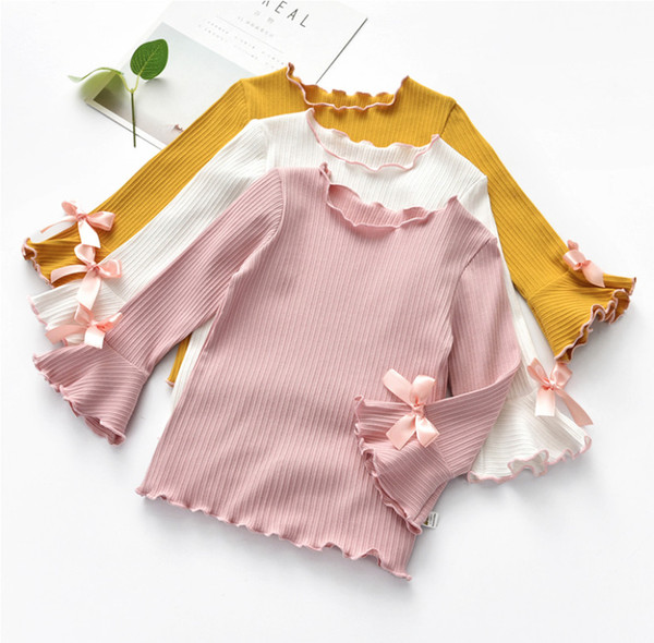 best selling New Spring Fall Winter Girls Shirts Kids White Pink Long Sleeve Lace Bow Baby Girl Tops t shirt Toddler Children Clothes Gifts