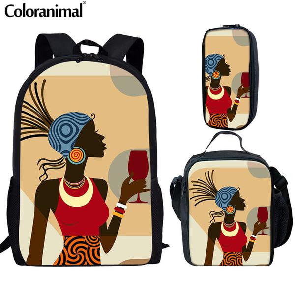 Coloranimal Afrika Kadınlar Sırt Çantası Siyah Kraliçe Amerikan Afrika Kızlar Genç Set Okul Çantası Karikatür Afro Lady Birincil Bookbag