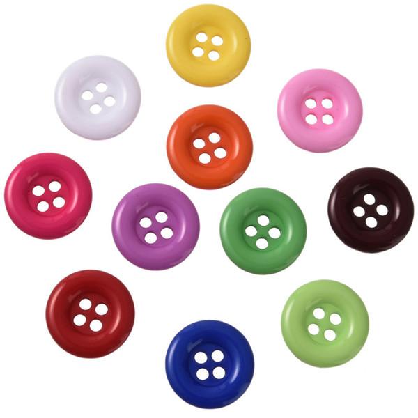 Hot 300 PCS colore misto 4 fori rotondi della resina tasti di cucito di 18 millimetri KnopfDIY Accessori
