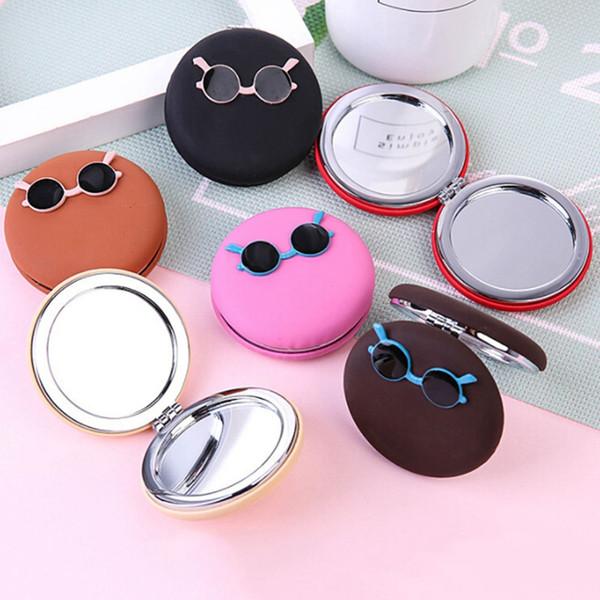 Moda Feminina Mini Bolso Espelho de Maquiagem Criativo Cosméticos Compactos Espelhos Bonito Dos Desenhos Animados óculos Pequeno Espelho