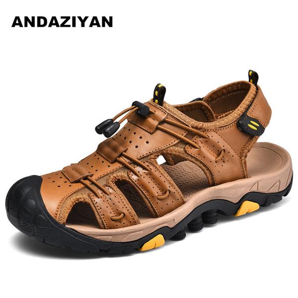 2019 mode printemps et en été sandales confortables en cuir de couche supérieure pour hommes