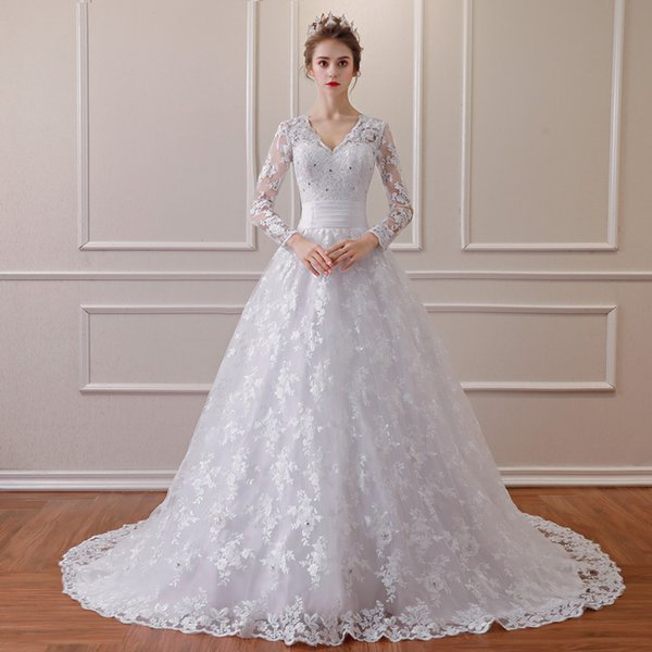 Lace Bridal Dresses Long Sleeves Wed Gowns Attractive Party Evening Dress Formal Evening Clothes High quality Sexy Special Occasion garment