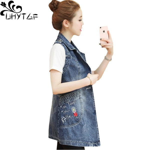 Compre Uhytgf Moda Coreana Sin Mangas Denim Chaleco Para Mujer Medio Largo Delgado Tops Femeninos Chaleco Prendas De Vestir Exteriores Wild Jeans