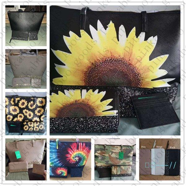 top popular fashion PU handbag wallet Purse 3pcs Set women Design Sequin Glitter Match Shoulder bags Female Trendy Tote Mini wallet Coin Purse D42705 2021