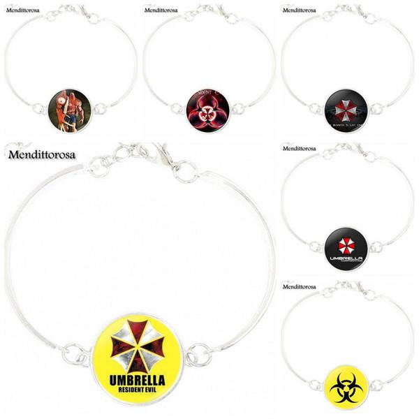 Fashion Jewelry Steampunk Women Gift Silver Bracelet Bangle For Men Women Resident Evil Umbrella