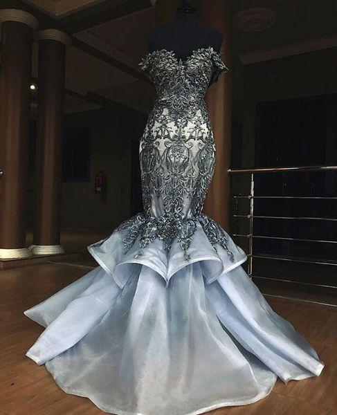 Sexy с плечом Appliques шнурок Mermaid серых Выпускные платья 2020 оборок юбки вечерних платьев Дешевых Длинных партий мантий Мантия де soirée