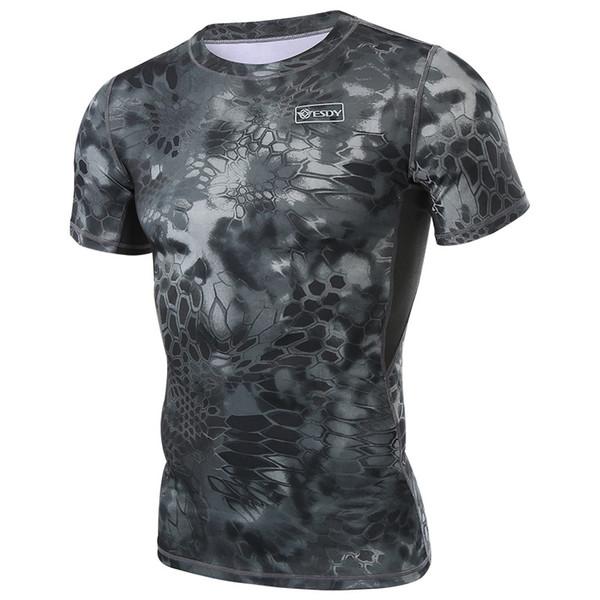 Novo verão Camuflagem caminhadas T-shirt dos homens Respirável python Exército Combate Tático T Camisa Seca Camo Acampamento Tees