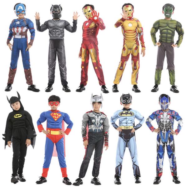 2019 Halloween Kids Cosplay Super Hero Os Vingadores Capitão América Homem de Ferro Thor Spider-man Superman Cosplay ternos roupas especiais