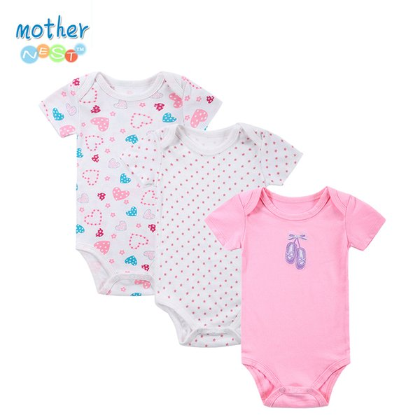 100% Bodysuit 3pieces/lot Newborn Cotton Body Baby Short Sleeve Underwear Infant Boy Girl Pajamas Clothes Q190518
