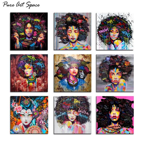 Femme afro-américaine Toile Impression Art Portrait Peinture murale décorative Photos pour Office Living Room Decor Drop shipping