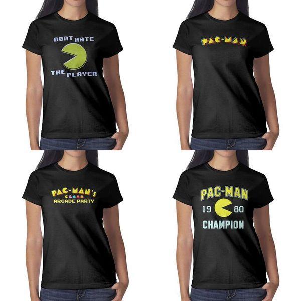 Bayan tasarım baskı Pac-Man 1980 Şampiyonu siyah t shirt kişiselleştirilmiş grafik bir şampiyon gömlek yapmak harika gömlek sevimli biker parti