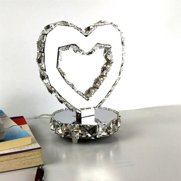 Heart-shaped Crystal led Table Lamp Modern Night Light Beauty led Desk Lamp For Home Bedroom Living Room Bedside Lamp home deco tafellamp