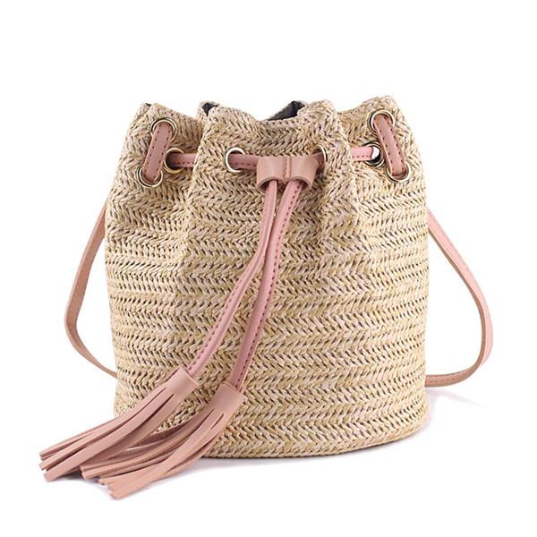 FGGS Messenger Çanta Bayanlar Kumaş Püsküller Ile Yaz Plaj Çantaları Dokuma Crossbody Çanta Kadın Dokuma Para Banka Örme Plaj H