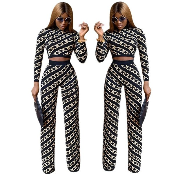 2019 Spring Design Fashion Chain Printing Black Long Sleeves Top and Wide Leg Pants Two Pieces Pants Sets Crew Neck High Waist Party Outfits
