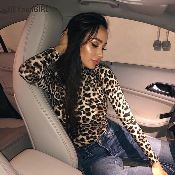 HEYounGIRL Leopard Bodysuit for Women Sexy Bodycon Skinny Body Suit Turtleneck Long Sleeve Playsuit Printed Romper Jumpsuits C19010801