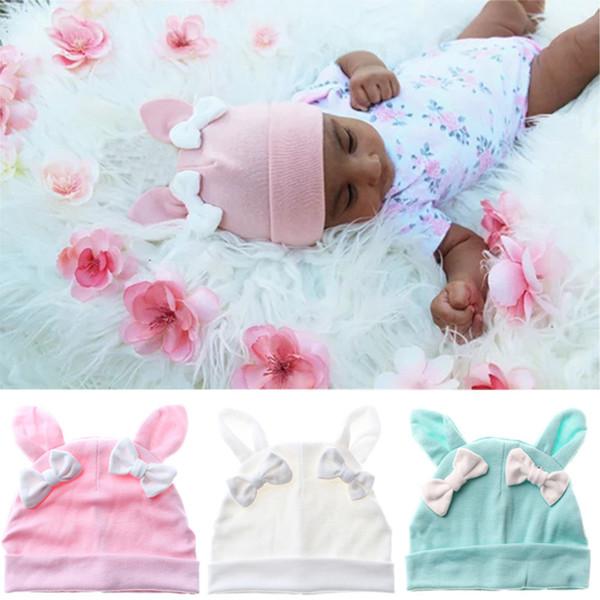 Infantile lapin oreille bowknot cap couleur solide bébé garçons filles à tricoter turban casquette enfants beanie chapeau cheveux accessoires WWA221