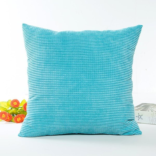 Simple Solid Color Comfortable Corduroy Decorative Square Throw Pillow Cover without Filling 45*45CM