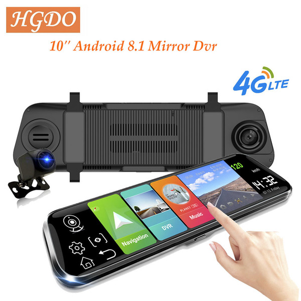 "10"" 4g car dvr android 8.1 stream rearview mirror fhd 1080p adas dash cam camera video recorder auto registrar dashcam gps dvrs"