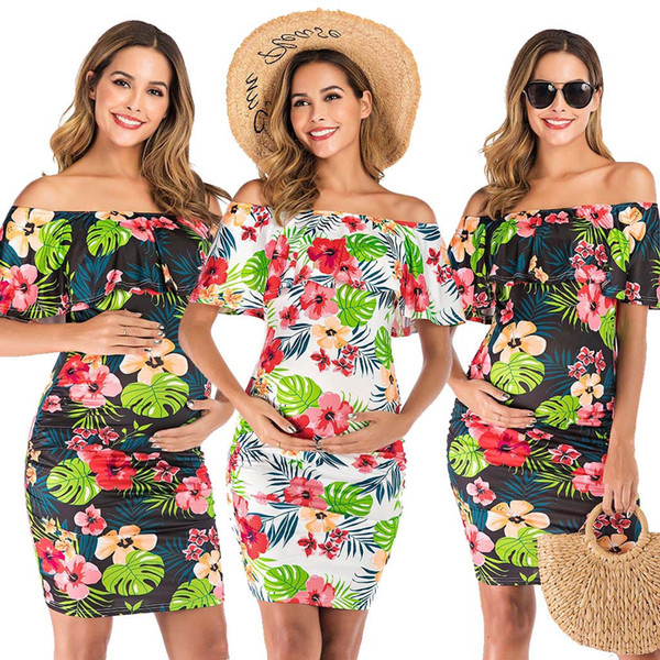New 2019 Maternity Dresses Women's Floral Print Ruffle Off Shoulder Dress Maternity Dresses For Photo Shoot Premama Soft Clothes