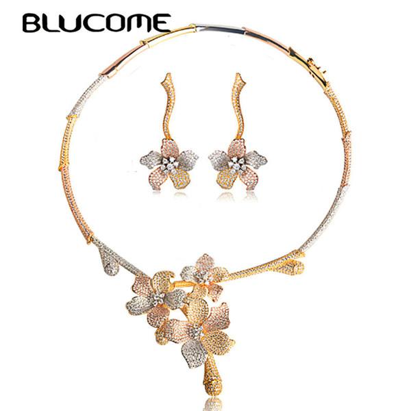 Venta al por mayor de lujo planta de flor en forma de collar pendientes cobre Circón oro Color accesorios mujeres Nigeria joyería de la boda conjunto regalos