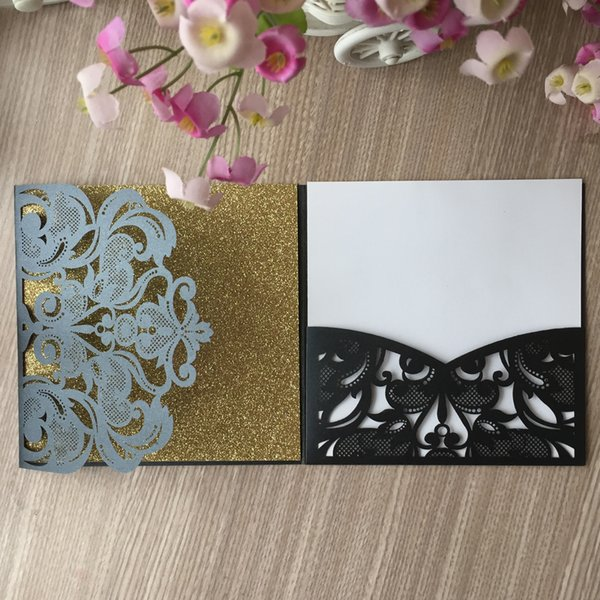 50PCS /lot Beautiful Butterfly Pattern Wedding Invitations Cards Decorations Lace Hollow Floral Supplies To Anything Grand Party Invitations