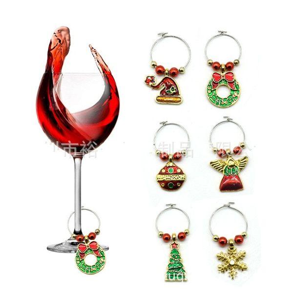 6 stücke Pro Sätze Glasbecher Ring Zink-legierung Rotwein Tasse Marker Tags Für Weihnachtsfeier Tisch DÉCor 12yqa E1