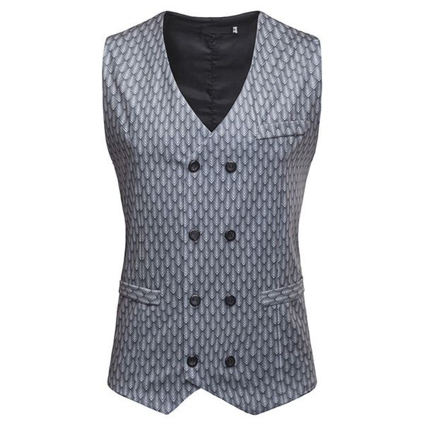 Men's Nightclub Casual Vest Waistcoat 2019 Brand New Double Breasted Suit Vest Men Party Prom Tuxedo Dress Vests Gilet Hombre