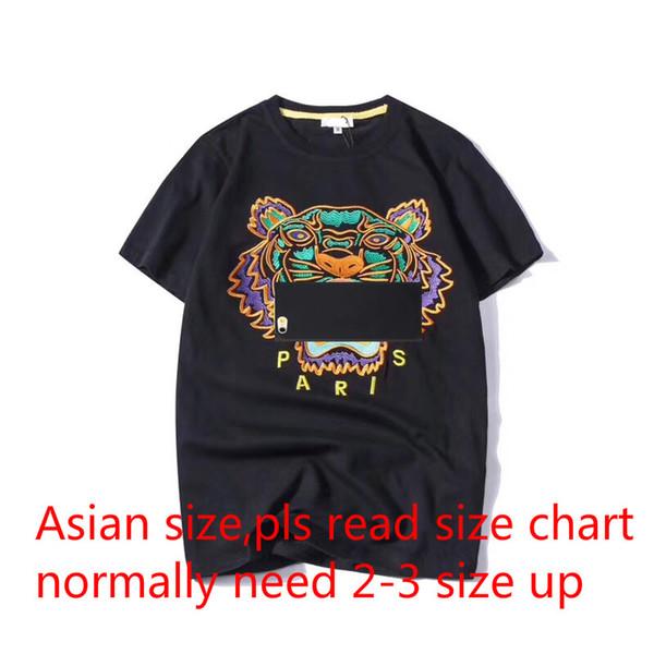 Летние футболки для мужчин топы голова тигра письмо вышивка марка футболка мужская одежда марка с коротким рукавом футболка женщины топы S-2XL