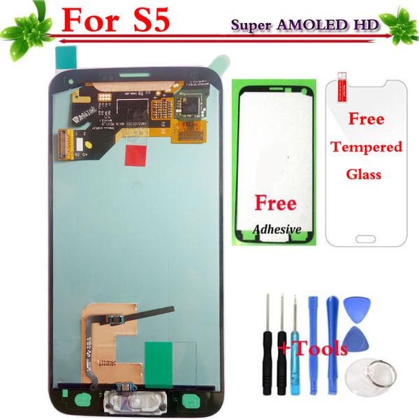 Pour Samsung Galaxy S5 G900 G900F G900M G900A G900T G900FD Écran LCD Écran Tactile Digitizer Assembly Bouton Home À La Maison Super AMOLED
