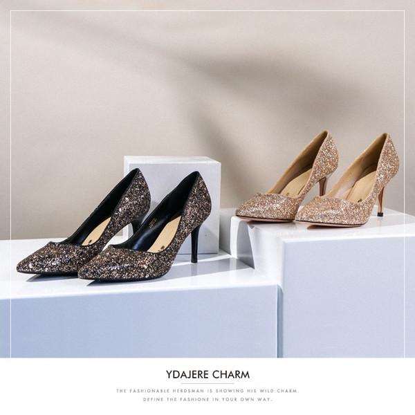 Attractive2019 Beautiful Generation Paillette Women's Autumn Wedding Woman Fairy Single All-match Shoes 16616