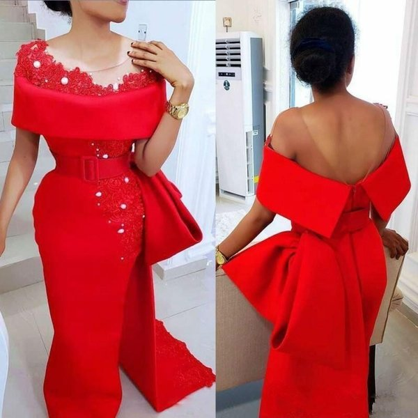 best selling Elegant Saudi Arabic Red Evening Dresses 2020 Sexy Sheer Neck Bow Train Beaded Pearls Party Dress Satin Side Split African Formal Prom Gowns
