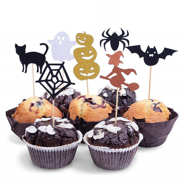 Creative Halloween Cupcake Toppers Set Bat Witch Pumpkin Cake Insert Decor Cupcake Halloween Party Decorations
