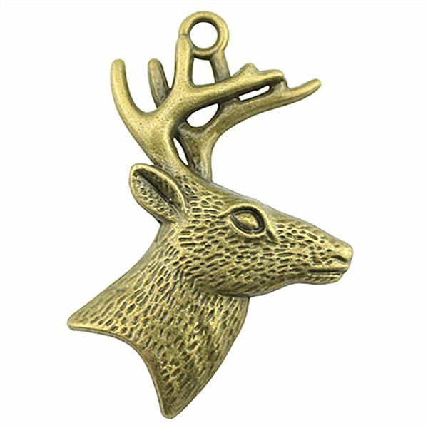 50 pcs Encantos Pingente de Veado Para Fazer Jóias Charme Cabeça De Veado Antigo Bronze Antigo Cabeça De Veado De Prata Com Chifres Encantos 43x60mm