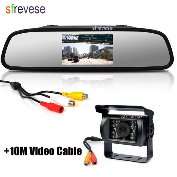 "18 LED IR CCD Car Bus Reverse Reversing Parking Backup Camera Waterproof + 4.3"" LCD Vehicle Rear View Mirror Monitor"