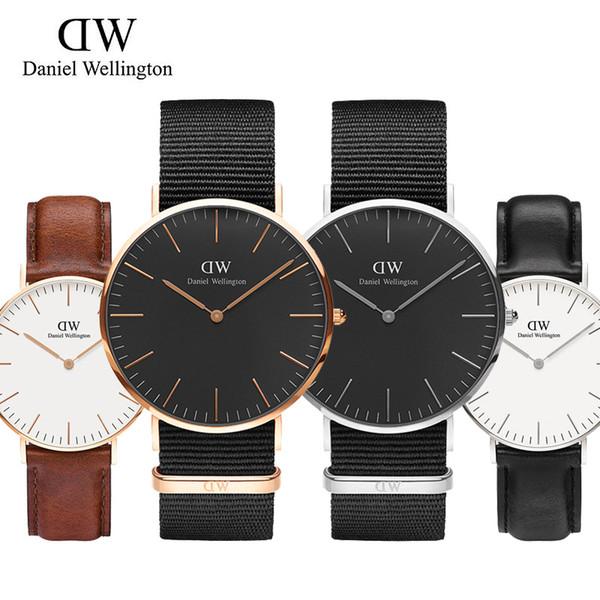 2019 new daniel homens subiu relógios de ouro de alta qualidade 3a vermelho azul cinto de nylon ocasional de negócios dhaniel wellington dw marca de quartzo pulseira de relógio