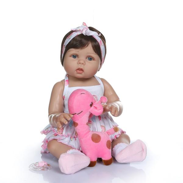 47cm Nouveau-né Bebe Poupée Reborn Baby Girl Poupée En Peau Brune Full Body Silicone Bain Jouet Lol Poupées De Noël Gfit